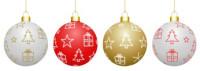 4 Boules de Noël avec motifs décoratifs